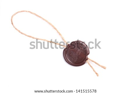 Vintage wax seal with lion over white - stock photo