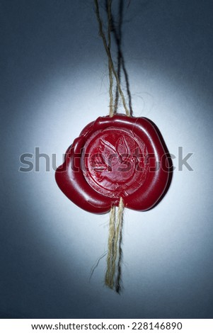 Vintage wax seal with Pigeon In The Ray of Light - stock photo