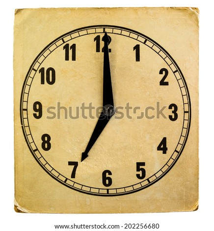Vintage weathered paper clock face. 7 am. - stock photo