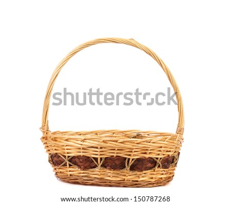 vintage weave wicker basket isolated on a white background