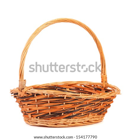 vintage weave wicker basket isolated on a white background - stock photo