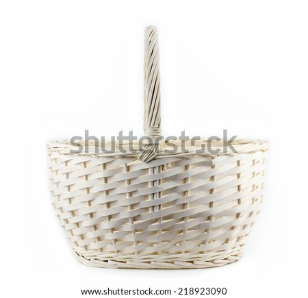 vintage weave wicker basket isolated on white background - stock photo