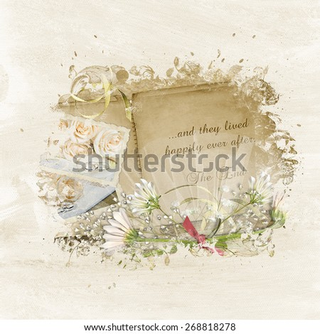 vintage wedding album with daisy bouquet and bridal tulle in a textured frame - stock photo