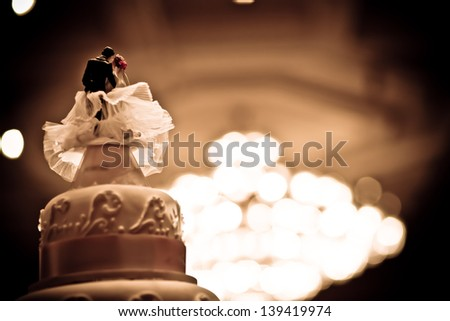 Vintage wedding cake with old style - stock photo