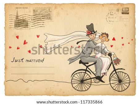 Vintage Wedding Greetings Card Groom And Bride On A Bicycle