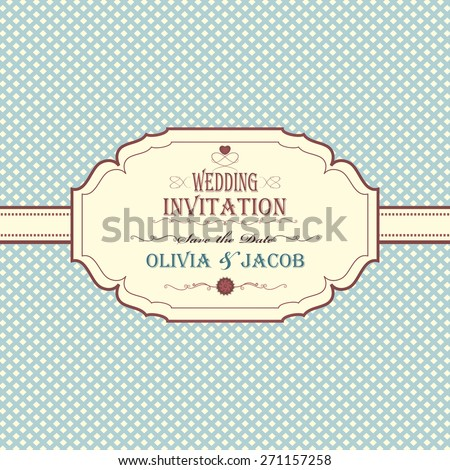Vintage Wedding Invitation With Checkered Background And Title Inscription
