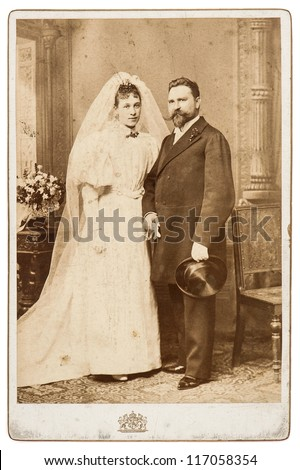 vintage wedding photo. just married couple circa 1900. nostalgic picture - stock photo