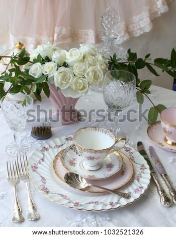 Vintage Wedding Table Setting - dinner plate salad plate silver cutlery flatware pink & Vintage Wedding Table Setting Dinner Plate Stock Photo (Royalty Free ...