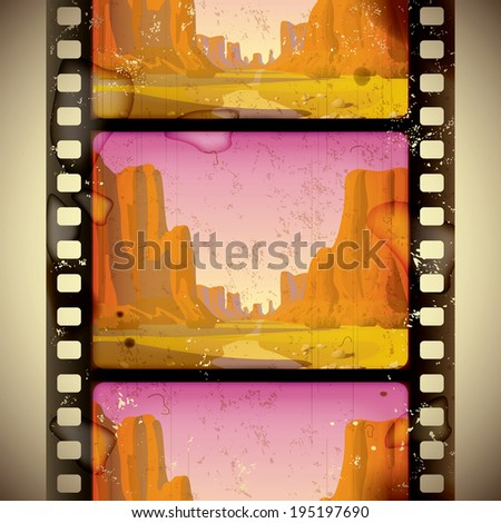 Vintage western film strip with big canyon - vertical seamless pattern background (contain the Clipping Path of the film strip) - stock photo