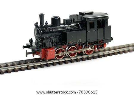 Vintage western model railway over white background - stock photo