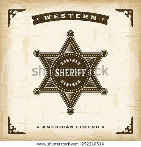 Vintage Western Sheriff Badge - stock photo