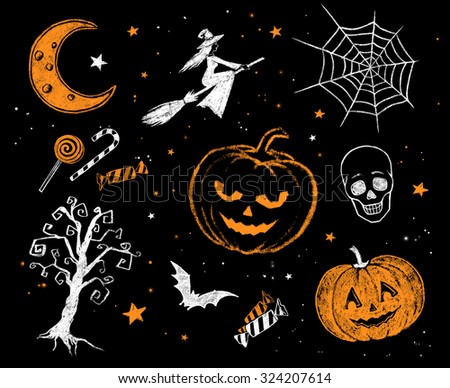 Vintage white and orange color chalk drawn Halloween collection. - stock photo