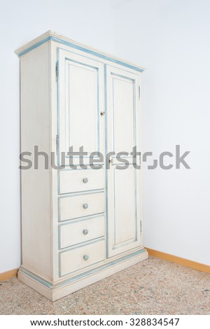 Vintage White Armoire Furniture In House On Marble Floor