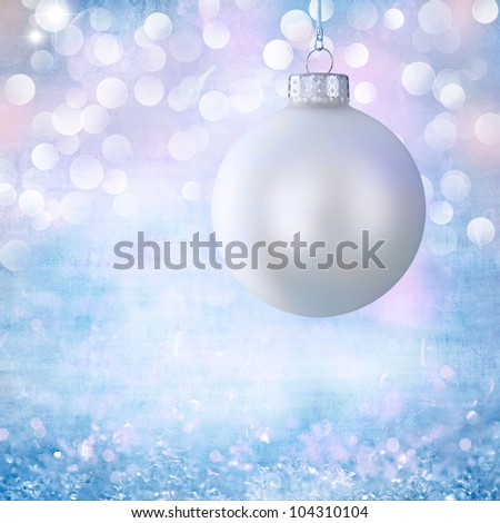Vintage White Christmas Ball Ornament Over Elegant Grunge Robins Egg Blue, Purple, Pink Bokeh Christmas Lights & Crystal Background