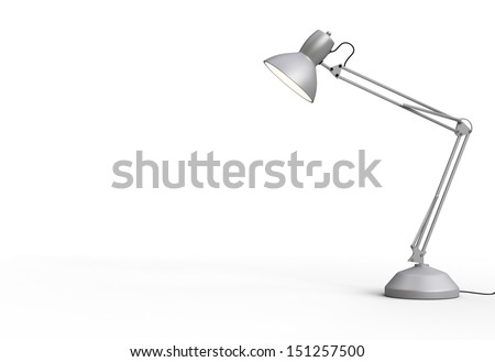 Vintage white desk lamp isolated on gray - stock photo