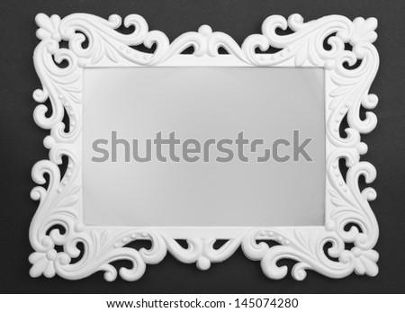 Vintage white Frame on black background - stock photo