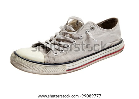 vintage white sneaker isolated