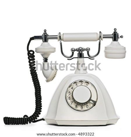 vintage white telephone on white with clipping path