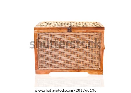 vintage wicker chest, closed on white background. - stock photo