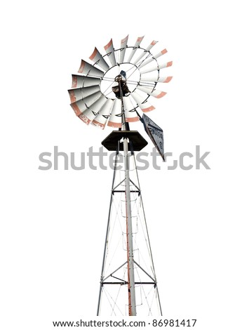 Vintage wind mill isolated on white - stock photo