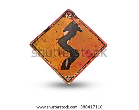 Vintage winding roadsign, old signroad - stock photo