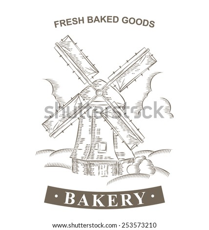 Vintage Windmill Logo Bakery design template. Hand drawn