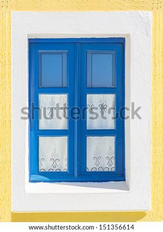 vintage window from a greek island - stock photo