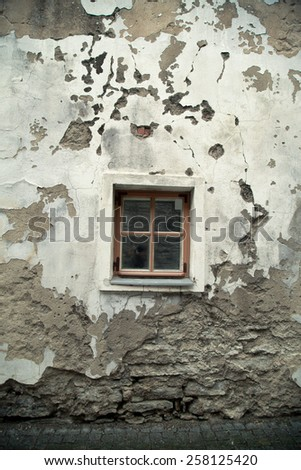 Vintage window in an old house. European city - stock photo