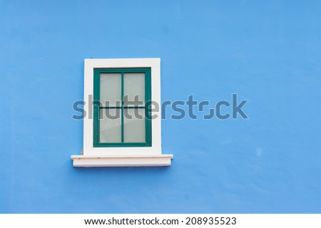 vintage window on color wall