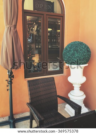 Vintage window with chair