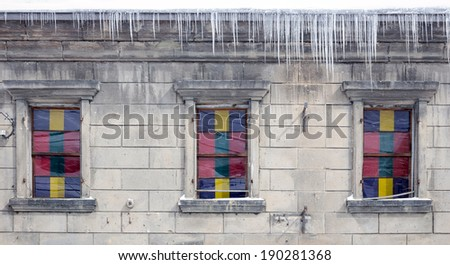 vintage window with Stained-glass in winter - stock photo