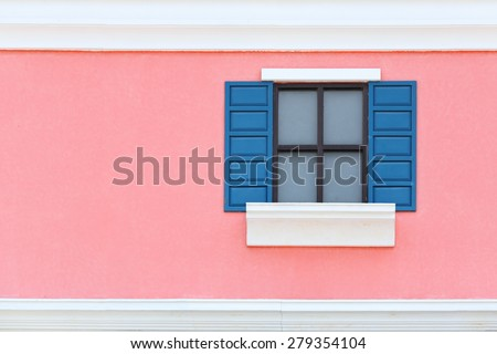 Vintage window with wall background (Venice or Italian style) - stock photo