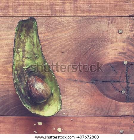Vintage. wine and snacks, top view, closeup. avocado and Arugula, closeup - stock photo