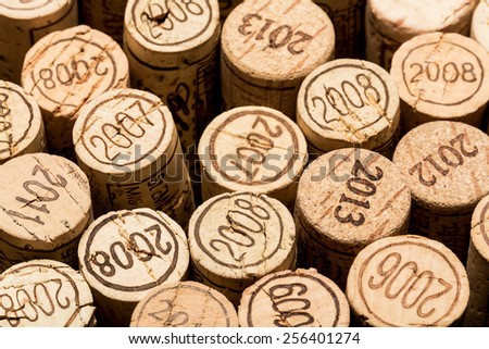 Vintage wine corks with year dates