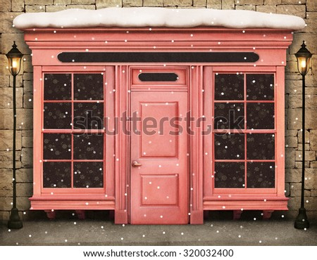 Vintage winter background with storefront - stock photo