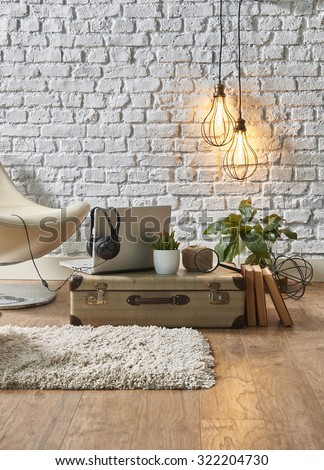 vintage winter with modern interior style and white chair  - stock photo