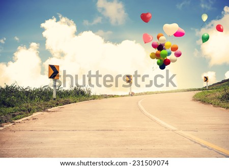 Vintage with heart balloon concept of love in summer and wedding honeymoon - stock photo