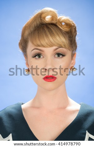 Vintage woman with victory roll curls hairstyle - stock photo