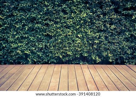 vintage wood floor in a garden  - stock photo