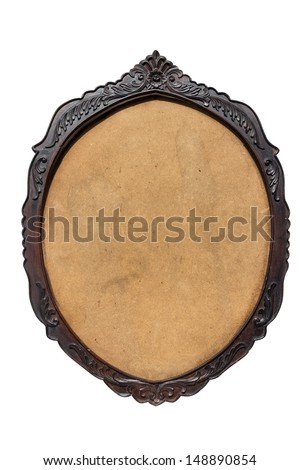 vintage wood oval shaped frame on white background with clipping path - stock photo