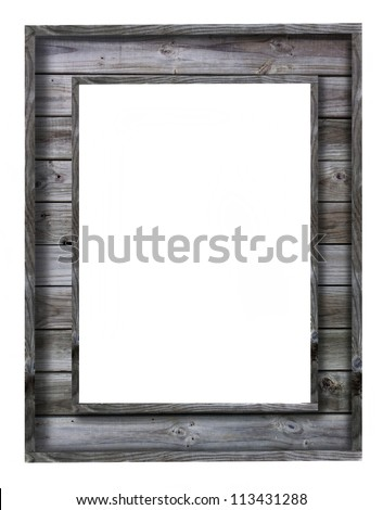 vintage wood picture frame on white background - stock photo
