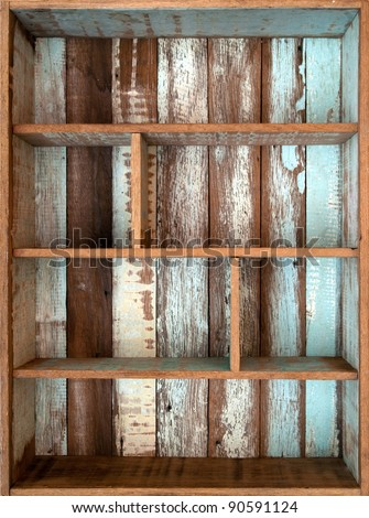 Vintage wood shelf - stock photo