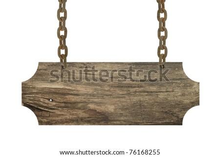 Vintage wood sign isolated on white - stock photo