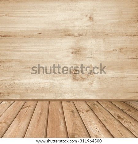 vintage wood texture interior background, tiled floor and wooden wall texture - stock photo