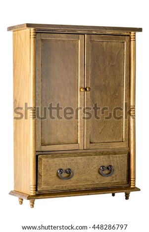 Vintage Wood Wardrobe Isolated On White, With Clipping Path