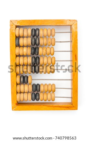 Vintage wooden abacus isolated on white background