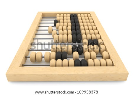 Vintage wooden abacus on a white background