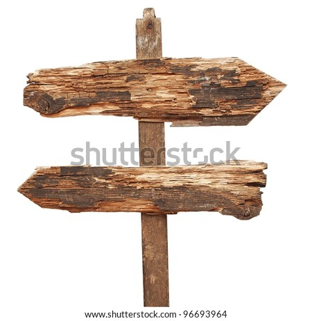 vintage wooden arrows road sign isolated on white - stock photo