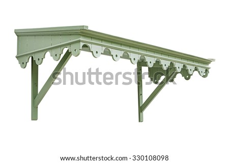 Vintage wooden awning on white background, work with clipping path. - stock photo