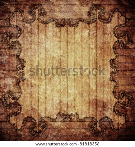 Vintage wooden background with ornamental border